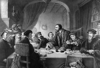 John Calvin speaking at the Council of Geneva, 1549